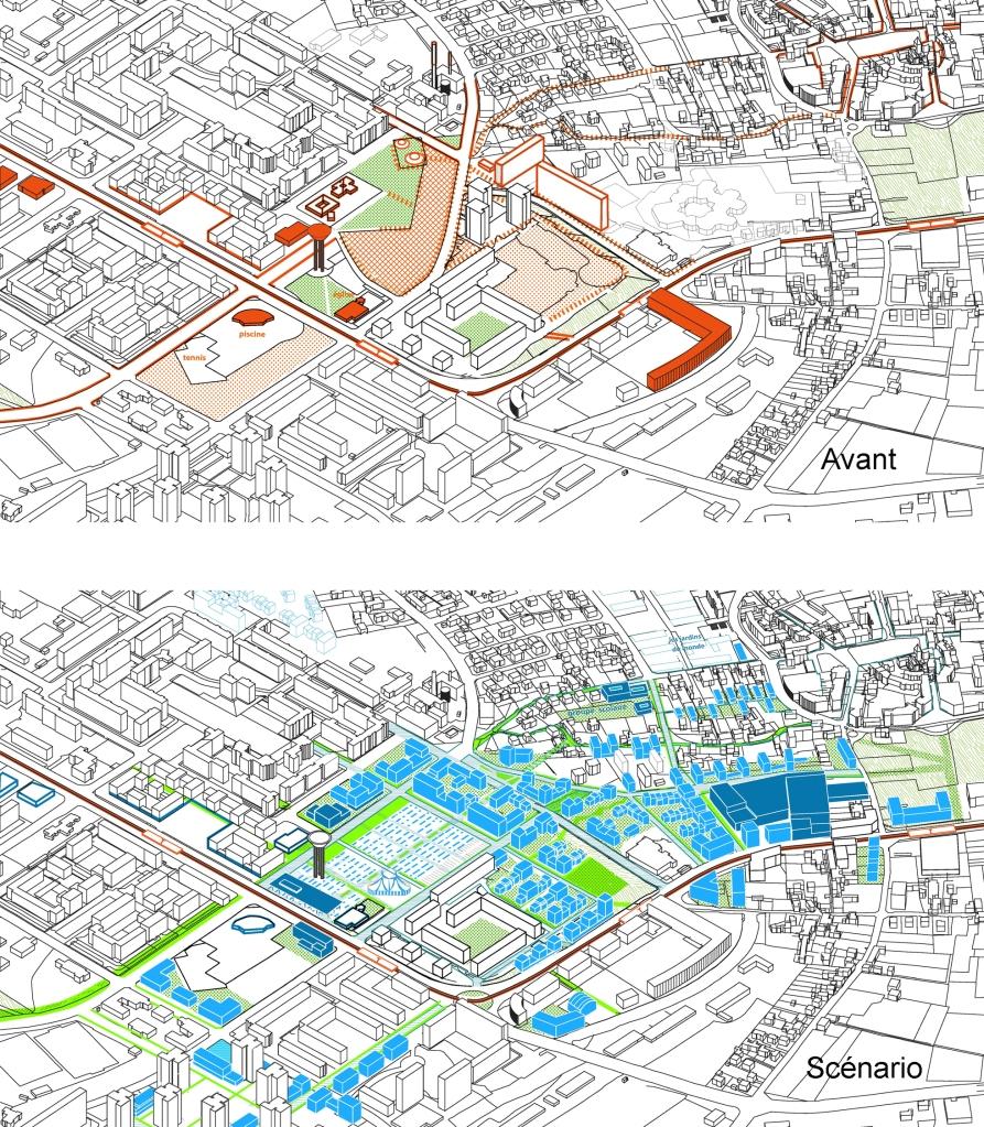 Zoom 3D sur le coeur de ville des Minguettes : état des lieux / scénario